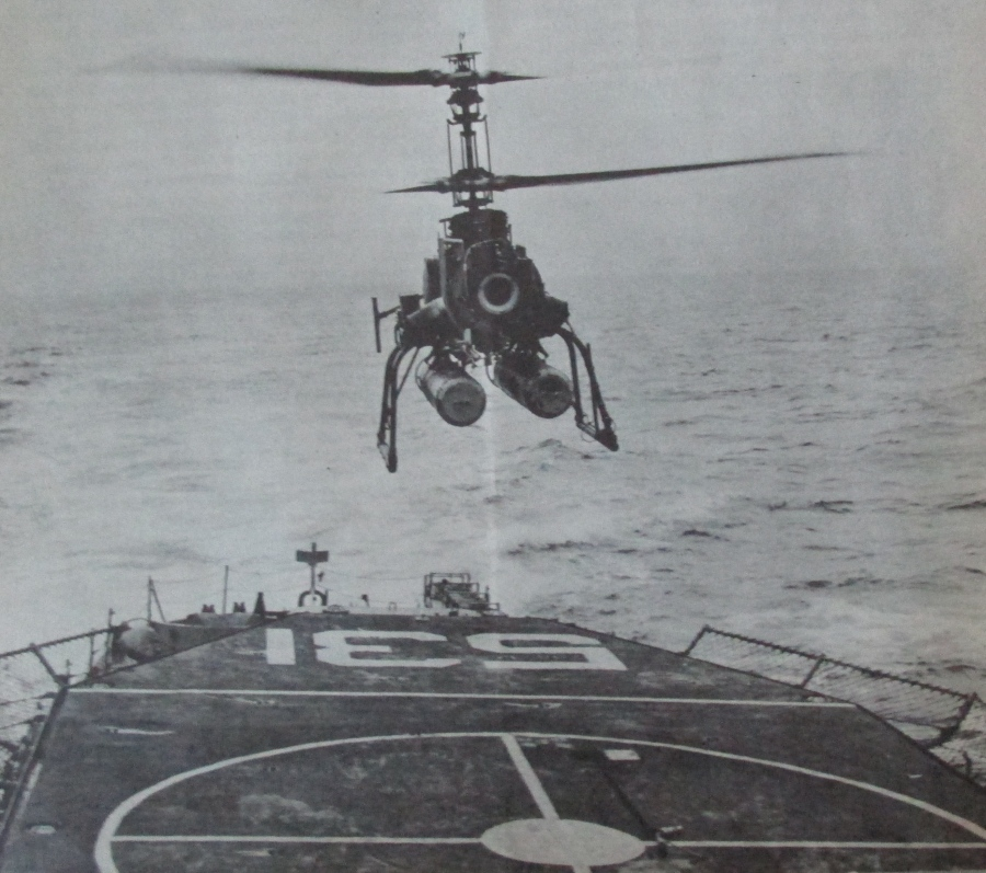 A QH-50 drone helicopter built by Gyrodyne Corp. lands on the helopad of the USS Hazelwood during a trial run in the 1960s. Photo provided
