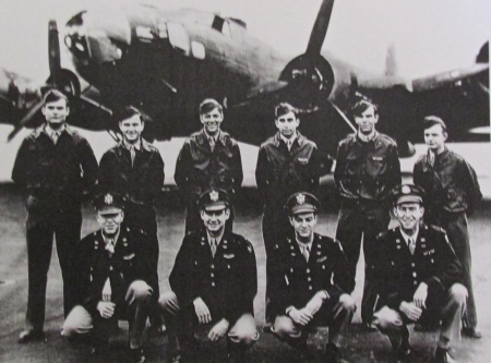 Sgt. James Estrep's crew at Pyote, Texas where they trained prior to going to England where they flew three missions as part of the 8th Air Force before being shot down over German-occupied Holland. He is the third airman from the left, standing in the back row. Photo provided by James Estrep