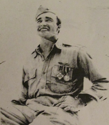 Miller is wearing a Distinguished Flying Cross (one below the Medal of Honor) and an Air Medal. Photo provided by Thelma Miller