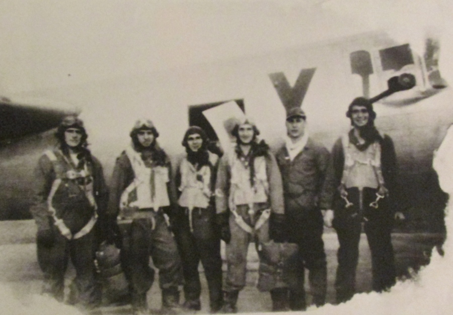 "These were the gunners who flew in a B-17 Flying Fortress named ""Hard Luck"" in the 8th Air Force in Europe. Bates is the airman at the far left. Photo provided"