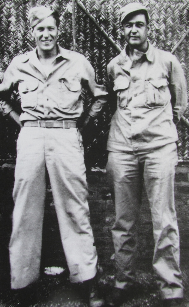 Langley (left) stands with his buddy Bob Wilcox of Pittsburgh, Pa., a radar operator on a B-29 bomber who also served in the 894th Bomb Group, 20th Air Force with him. They flew out of Sula Air Base in India.