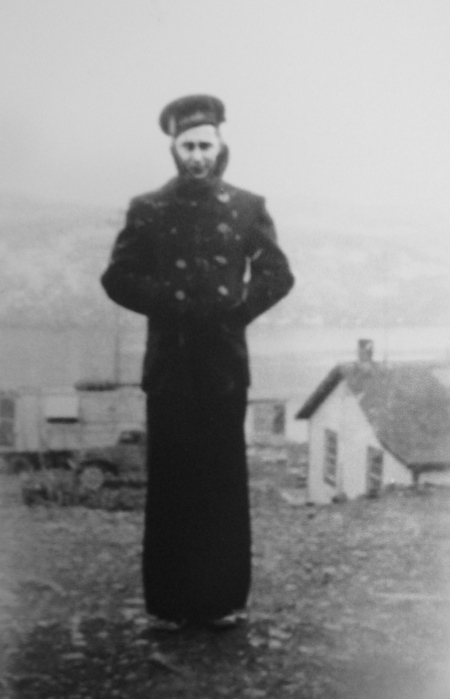 Carpenter's Mate 2nd Class Willis Brumhall was going on liberty and all decked out in his Class-A uniform. He was headed for Kodiak, Alaska to see the sights. Photo provided