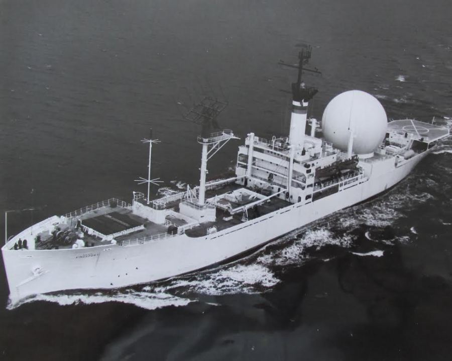 "The USNS Kingsport. (T-AG-164). This ship began its career as the USNS Kingsport Victory (T-AK-239) which served as a cargo vessel during World War II., Reddel skippered when he supplied diesel oil to power plants at RADAR stations along the ""Dew Line"" in the far north protecting the U.S. from Soviet attack. Photo Provided"