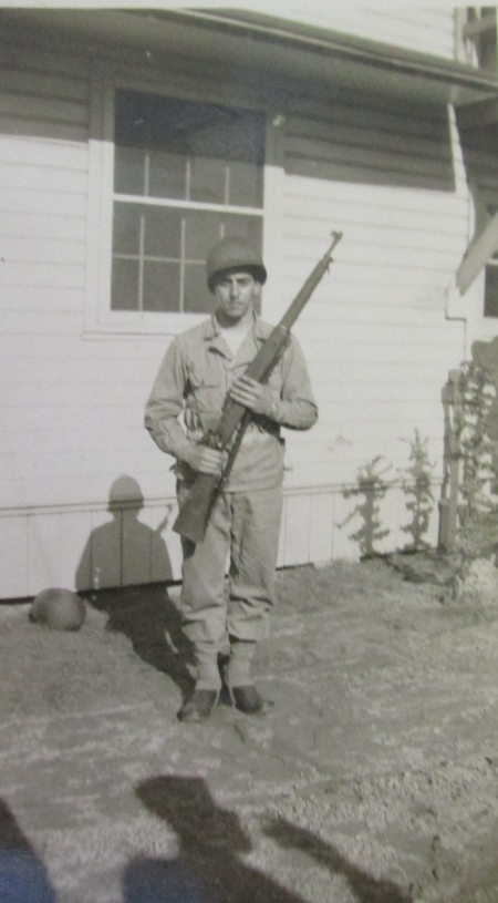 Learning to soldier, Di Gregorio took his basic at Fort Bragg, North Carolina in 1942. He's pictured with his rifle at port arms. Photo provided