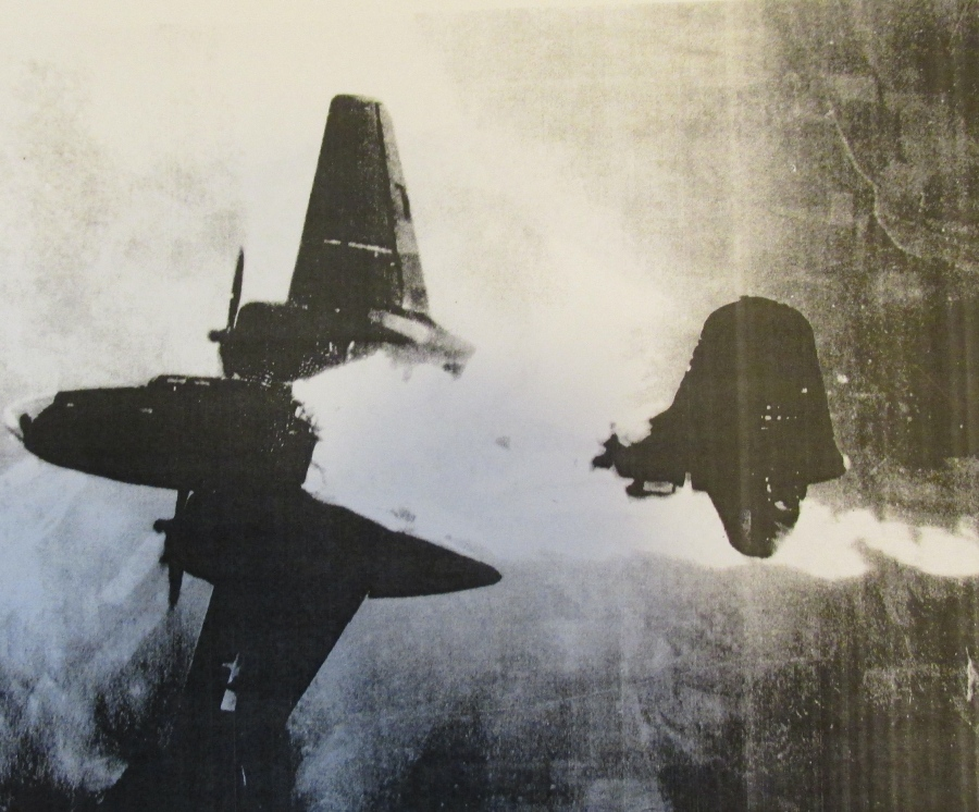 Sgt. Ken Dvorak was the belly gunner on this Havoc bomber that was going down in flames over the English Channel during the Second World War. Photo provided