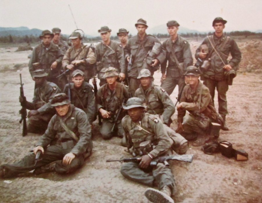 This was Sgt. McConnell's squad in Vietnam in '68. They were part of B-Troop, 2nd Squadron, 17th Cavalry, 101st Airborne Division. He is the soldier at the far left sitting on the ground in the left front. Photo provided