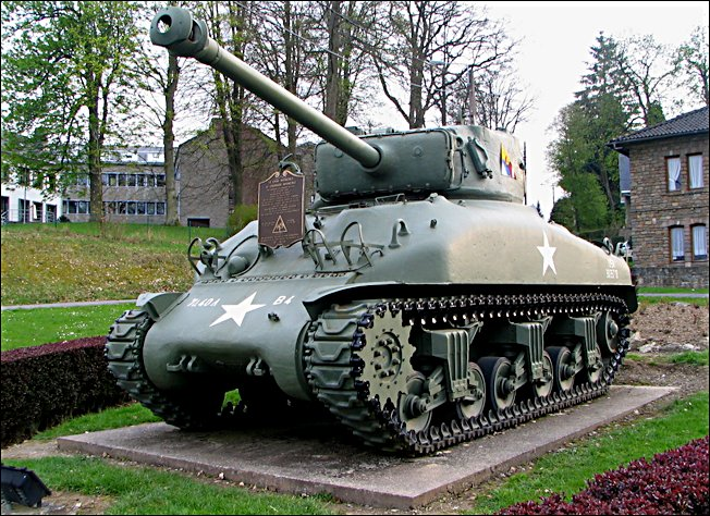 This Sherman tank is on display in the center of Vielsalm, a village in Belgium, honoring the American soldiers who fought and died in the Ardennes during the Battle of the Bulge in mid-December 1944. Sgt. Clarence Tuma of Englewood, Fla. was one of thousands of soldiers who took part in this battle. Photo provided