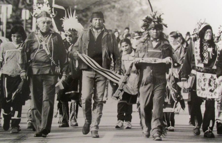 Jimerson (in the front row near right with feather head dress) takes part in a 200 year anniversary celebration of the signing a treaty between the Indian tribes in New York State and the Colonel Government. Photo provided