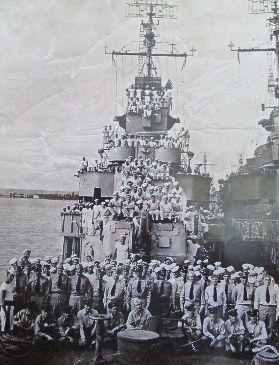 The crew of the John Rodgers is pictured on the deck of the destroyer. Johnson believes the photo was taken in California during World War II. He is in the group of sailors at the right front. Photo provided