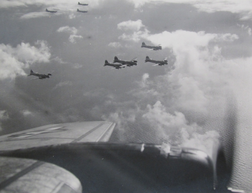 This picture was taken from Tristano's bomber showing a flight of B-17s on a combat mission to bomb Germany during World War II. Photo provided