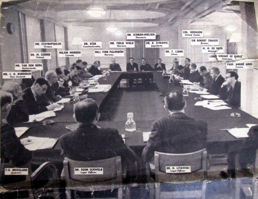 This is a picture of the War Crimes Commission meeting in London in 1945, before the start of the Nuremberg War Crimes Trials. Sixteen countries whose people suffered genocide from Axis forces comprised the members. Lyman ran the meeting as Acting Secretary General. Photo: Picture Post Dec. 1, 1945