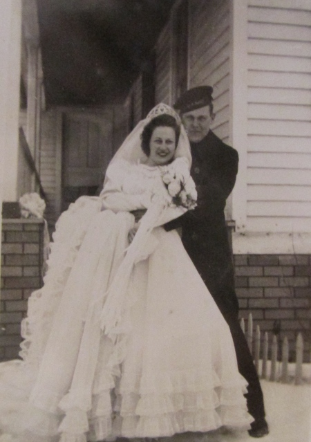 Gilbert and Phyllis Butson of Oak Forrest condominiums in Port Charlotte are pictured 70 years ago when they were married in the Detroit, Mich. area in 1944 when he was an anti-aircraft gunner on the destroyer Cowell during World War II. Photo provided