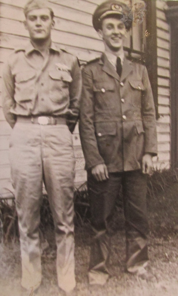Glenn Meyers of North Port (right) in his Merchant Marine uniform and his older brother, Elmer, who wintered in Englewood, are pictured outside their parents' Elizabeth, Pa. home at the end of World  War II. Elmer served a few months as a German POW after the Battle of the Bulge. Photo provided