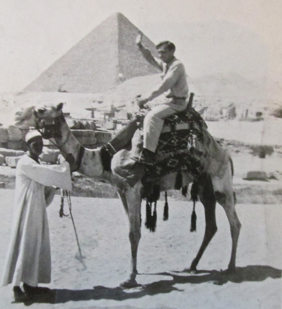 Glenn Meyers plays tourist immediately after the war while serving as a radio operator aboard a Liberty ship taking grain to Egypt. That's him on the camel in front of one of the Great Pyramids outside Ciro, Egypt. Photo provided