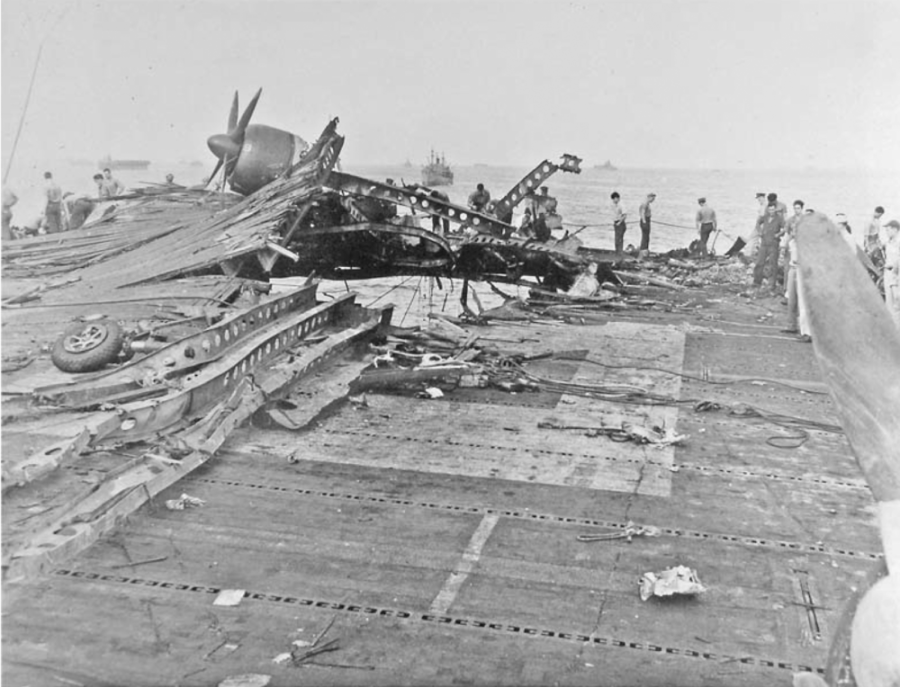 The aftermath of a Japanese kamikaze attack on the USS Randolph on March 11, 1945I. Photo provided