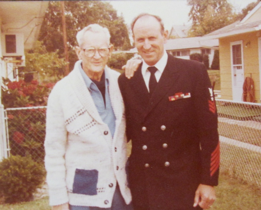 Lou senior and junior after he re-upped in 1949 and went back but this time in the Navy. He served as a chief petty  officer in the Navy during the Korea War at the naval base in Charleston, S.C. Photo provided