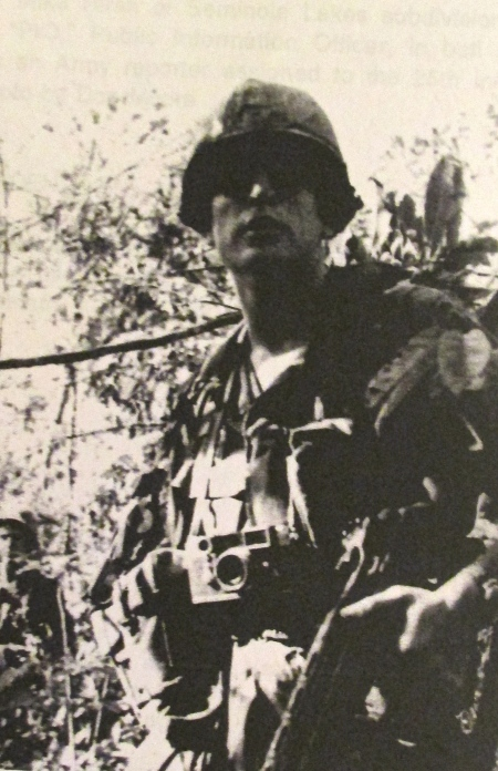 His Leica camera with a wide angle lens dangles from a strap around his neck and his M-14 rifle in hand, Mike Hirsh is ready to take on the Viet Cong in the jungles of Vietnam 40 years ago. Photo provided