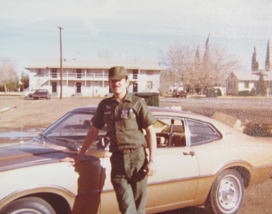"Airman Raymond stands in front of his new set of wheels at George Air Force Base in California where he was a crew chief in an F-105 ""Thunderchief"" jet fighter squadron in the 1970s. Photo provided"