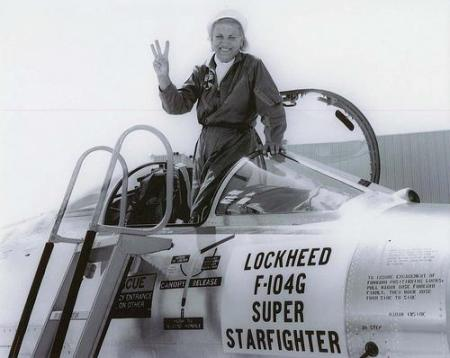 "Jackie Cochran holds up three fingers signifying this was the third time she won the world speed record in a Lockheed F-104G ""Starfighter"" jet flying at a speed of 1,127.297. Photo provided by the U.S. Air Force"