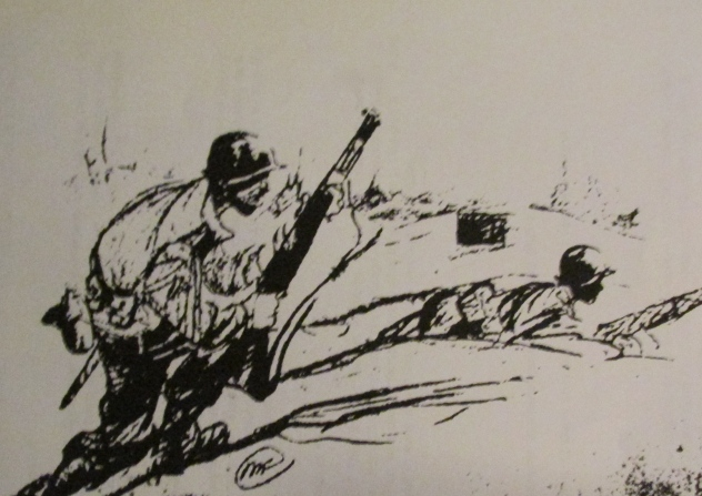 This drawing depicts members of the 90th Infantry Division fighting their way through German-occupied Europe during the Second World War. Gaus of North Port was one of those soldiers who fought from D-Day plus 2 until the German surrender in early May 1945. Drawing provided by Al Gaus