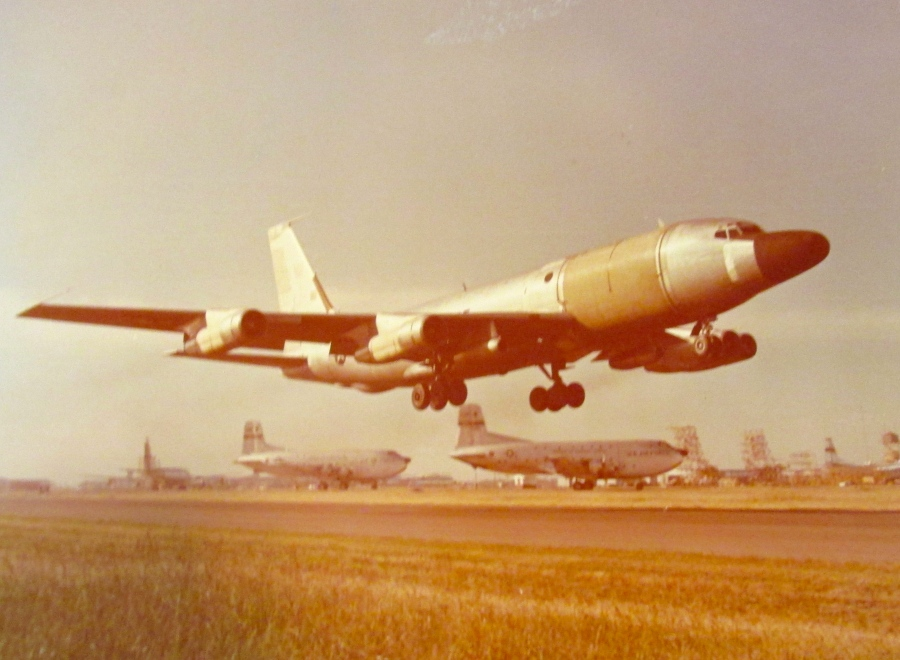 An RC-135E, converted tanker climbs into the sky from Shemya Air Force Base in the Aleutian Islands off the coast of Alaska. The plane had a highly classified radar system used by the U.S. Air Force to spy on the Russian missile program. Howard flew as an electronic warfare officer. Photo provided