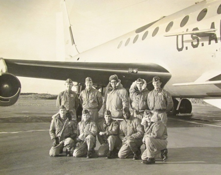 "The crew of the ""Cobra Ball,"" a photo reconnaissance plane the U.S. Air Force used to take pictures of Russian ICBM missiles reentering the atmosphere during the 'Cold War"" in the 1960s. Capt. Russell Howard is the fellow in the parka second from the right in the second row. Photo provided"