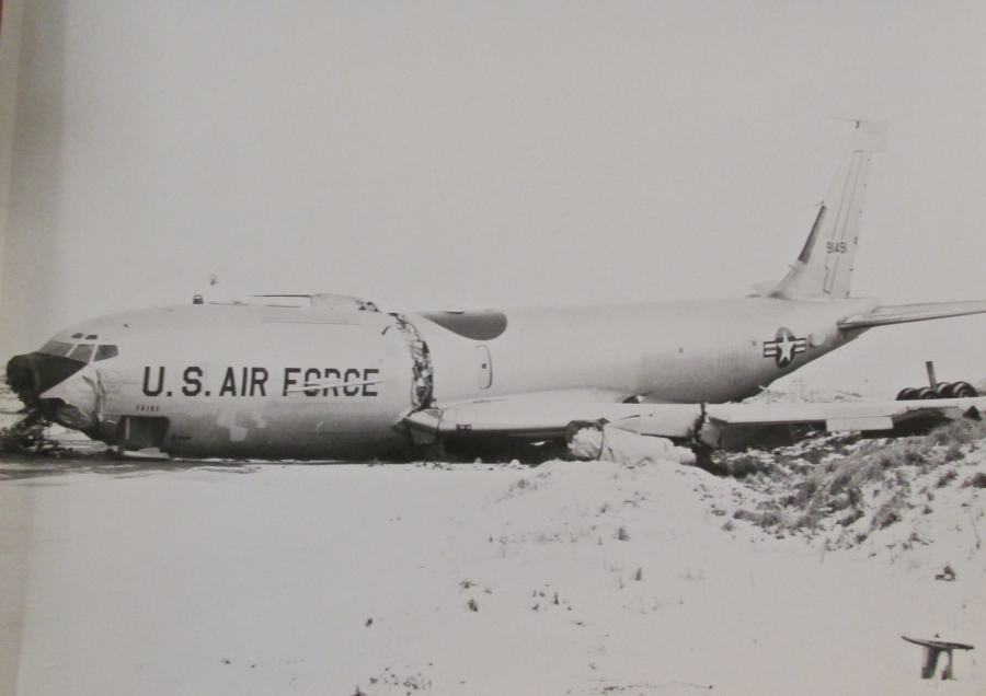 "It was a close call for the crew of ""Cobra Ball"" when it skidded off an icy runway at Shemya and down a 40-foot embankment. Neither Howard nor any of the other crew-members were injured in the crash. Photo provided"