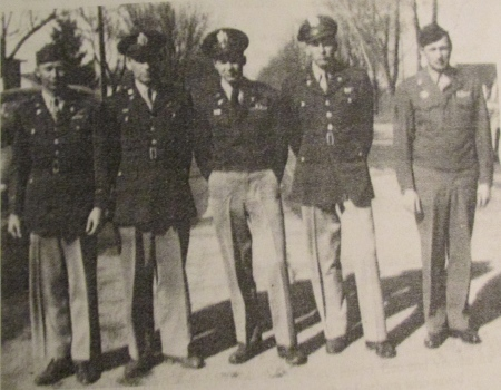 The five Coffield brothers: Pete, Floyd, Paul, Leo and Alford. They all became pilots except Alford who became an expert airplane mechanic. They served in WWII in Europe and Asia, and they all came back alive. It is believed Grace Coffield was the only Five-Star mother in Michigan. Photo provided