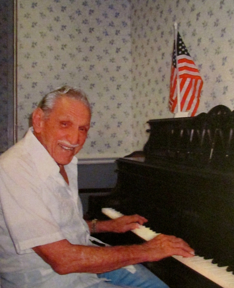 At 98, Hap Saams can still pal a mean piano. He played during the big band era of the 1930s and '40s in New York. He had a one-man nightclub routine in Miami and the Keys for decades afterwards, Here he's playing for the lunch crowd at the Royal Palm Retirement Center in Port Charlotte where he lives. Sun photo by Don Moore