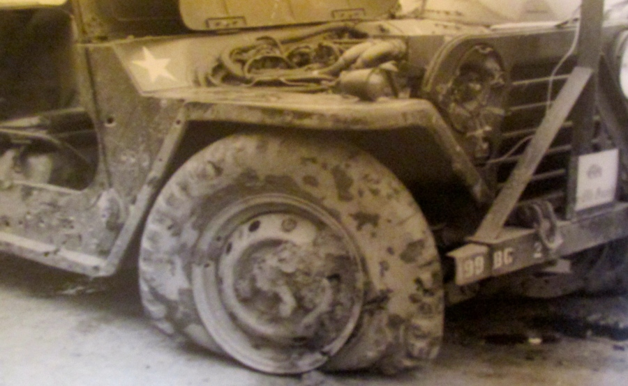 This is what Block's jeep looked like after it was hit by an enemy mortar round. Photo provided