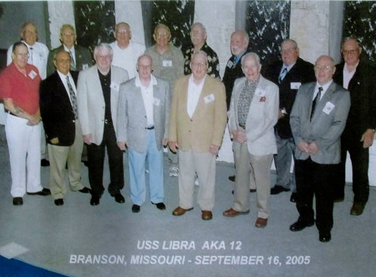 This was the members of the first of three reunions held by the sailors who served aboard the attack transport USS Libra during the Korean War and World War II. It was held in Branson, Mo. in 2004. Adams is fourth from the left in the back row. Photo provided