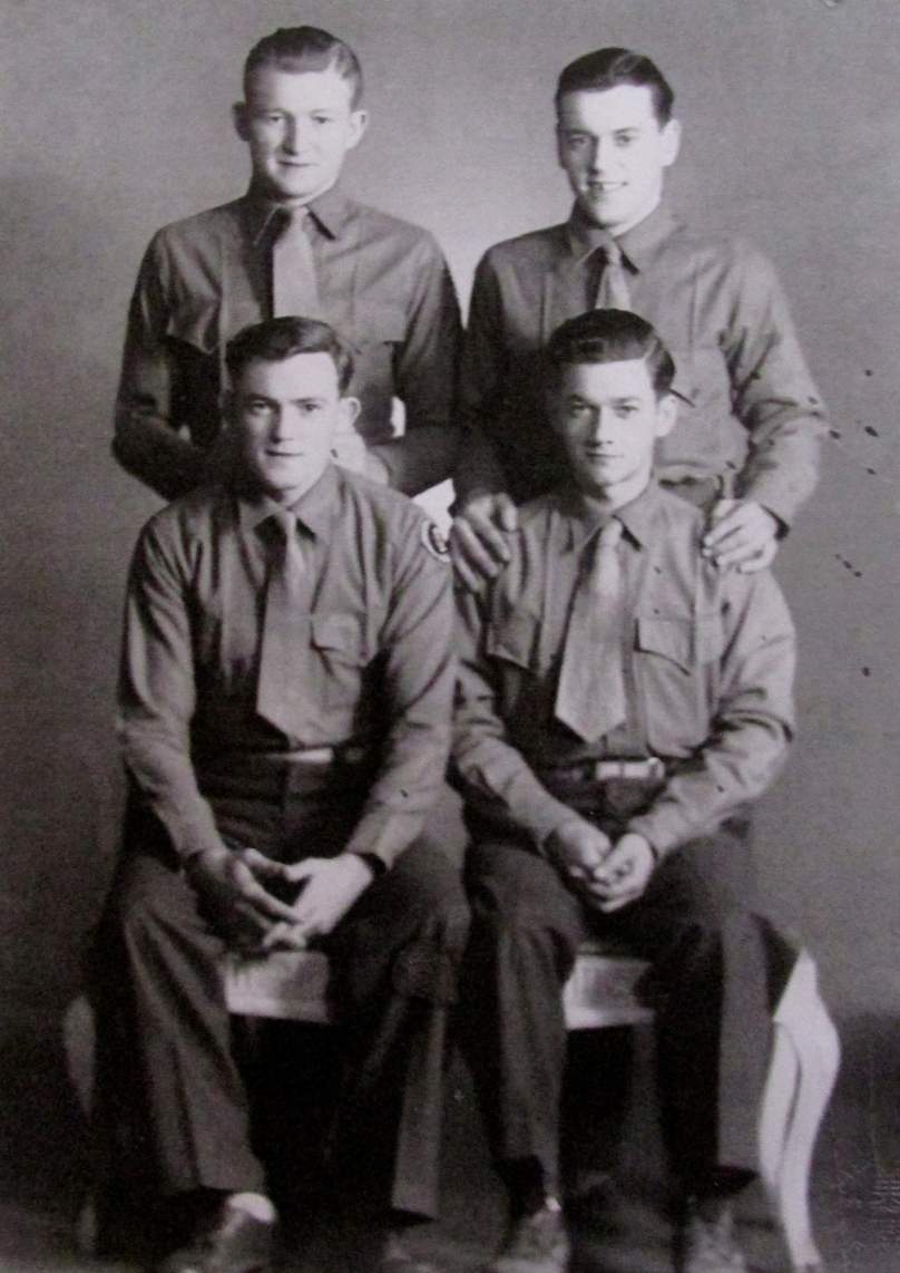 Bill Denton, bottom right, and three of his Marine Corps buddies during a 10-day outing in Sing Tao, China. From the top left: Red Linker, Robert Barnhard (trop right). Bob Slate in Tie-in, China on furlough. Photo Provided