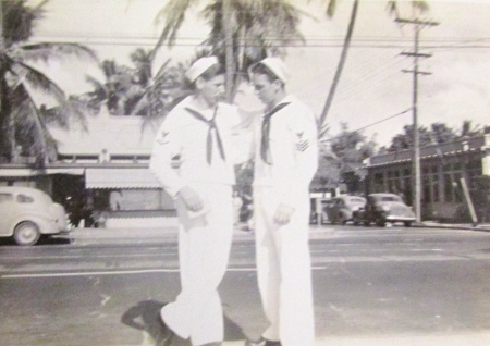 John Barrow II of Royal Palm Retirement Centre (right) and a shipmate check out Honolulu during a liberty from their ship the USS Aulick during the Second World War. Photo provided
