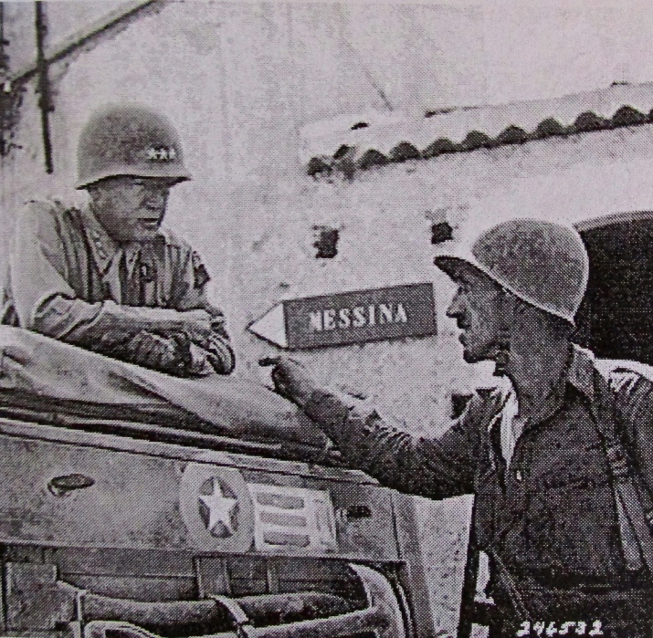 Lt. Gen. George Patton talks to one of his soldiers at Messina, Sicily during the summer of 1943. By this time Patton and Gen. Bernard Montgomery, commander of the British 8th Army, had run the Germans and Italians out of Sicily to Italy. Photo provided