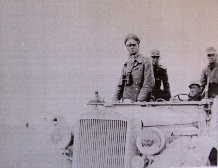 Gen. Irwin Rommel is shown at the head of a tank column in the Tunisian desert in North Africa during the Second World War. He and his troops were run out of Africa by Patton and Montgomery. Photo provided