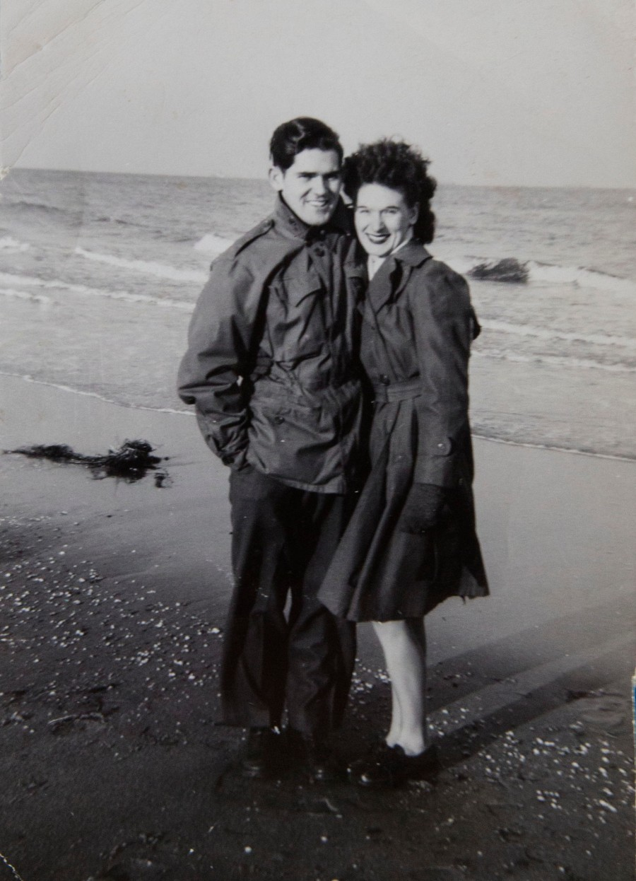 Mary and her husband to be Sgt. John O'Neill are pictured on the beach near Fort Dix, NJ in 1944 where they both served during World War II. Photo provided