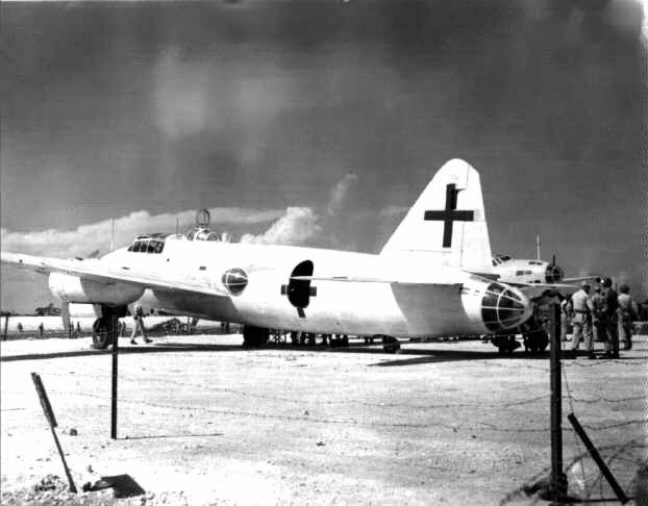 Two Japanese Betty bombers with green crosses on their wings and tail comprise the surrender delegation that flew into I Shima Island on their way to meet Supreme Commander Gen. Douglas MacArthur  at the end of World War II. Pfc. Picard saw the planes arrive on the island. Photo provided