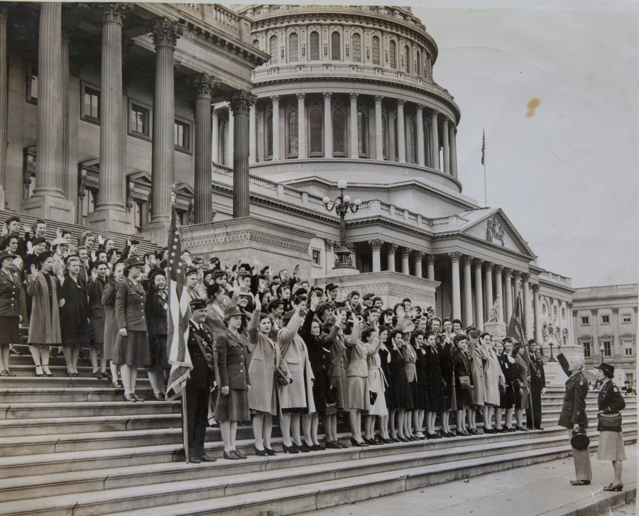 It was a cold day, Oct 22, 1943, when Mary O'Neill and scores of other women were sworn into the WACs on the steps of the U.S. Capitol in Washington, D.C. Photo provided