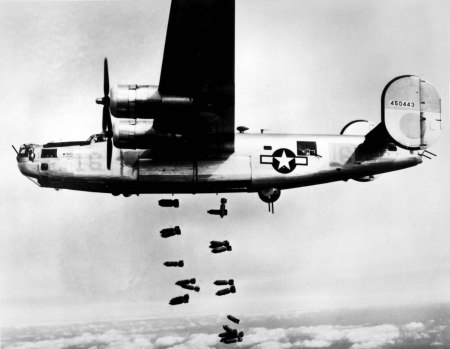 Sgt. Stanley Niemczura was a tail gunner in the 15th Air Force on a B-24 like this one flying out of Cerignola, Italy on Christmas Day bombing raid over a German railroad marshaling yard in 1944.  Photo provided