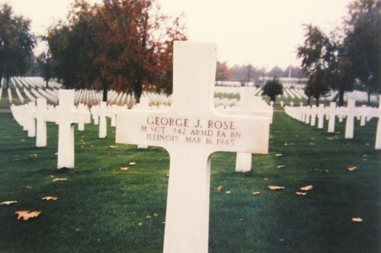 Pictured in the foreground is the grave of  Master Sgt. George J. Rose, one of the 342nd Battalion's first war casualties. He is buried in a U.S. military cemetery in Avold, France. Photo provided