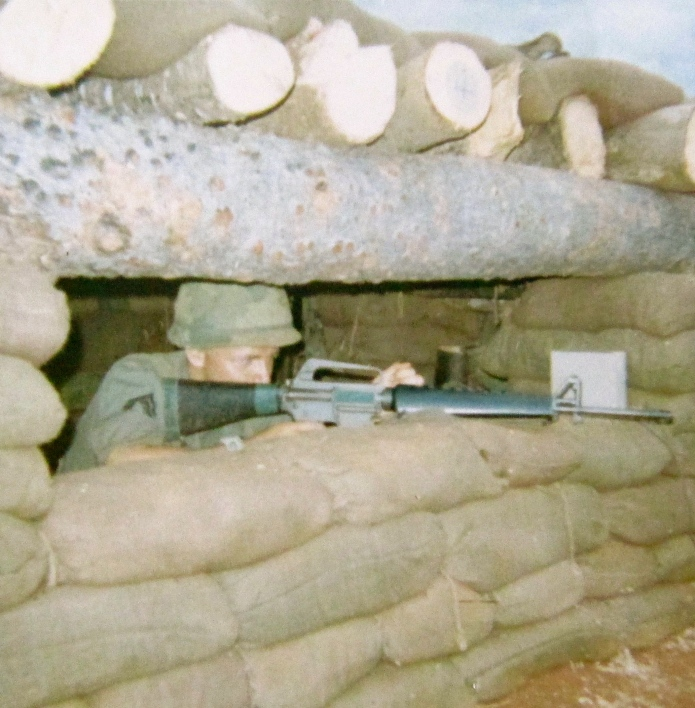 John Sanderson is ready to take on the enemy in a bunker in the Central Highlands of Vietnam in 1967. Photo provided