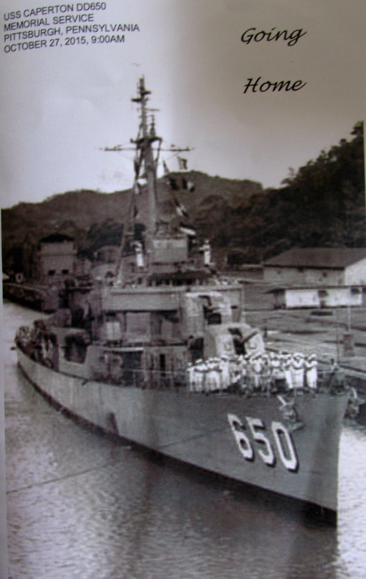 This is Jensen's ship, USS Caperton (DD-650), a Fletcher-class destroyer whose home port was Newport, R.I. Photo provided