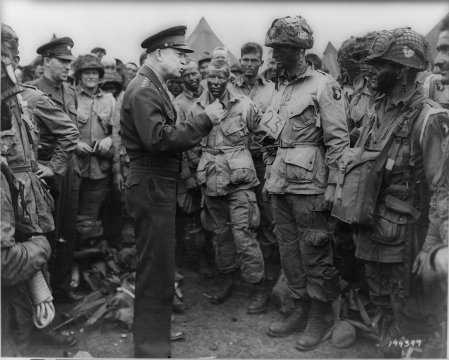 Supreme Allied Commander Dwight D Eisenhower talks to members of the 101st Airborne shortly before they flew into battle during the invasion of France June 6, 1944.  The original pictures accompanying this story are no longer available - military archival pictures were substituted.