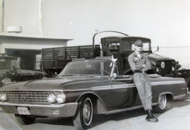 Poulakis stands beside his 1962 Ford Galaxy 500, a chestnut-colored Ford convertible with white interior at the Nike-Hercules guided missile base near Minneapolis-St. Paul. Photo provided
