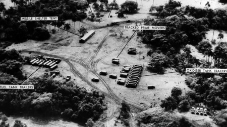 A U-2 reconnaissance photograph of Cuba, showing Soviet nuclear missiles, their transports and tents for fueling and maintenance. Photo provided