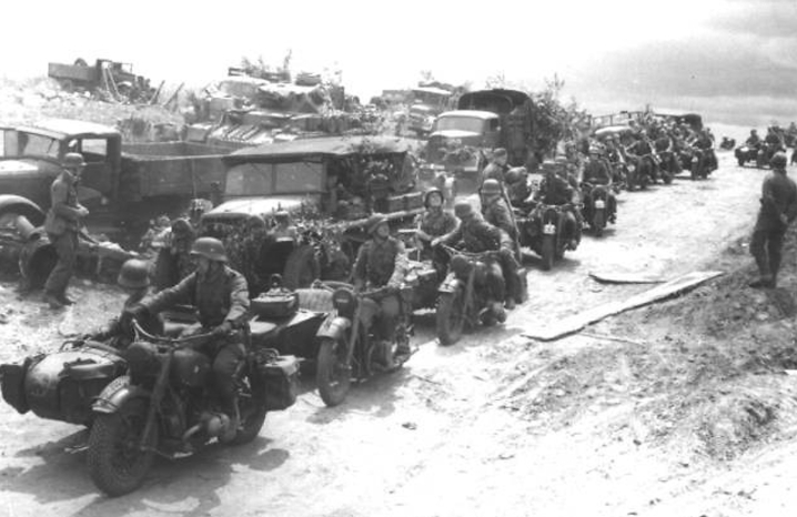 Sgt. Al Mountenay's Hastings and Prince Edward Regiment from Ontario, Canada made a night raid on the ancient mountain-top fortress at Assoro, Sicily on July 21, 1943. The Canadian unit forced the Herman Goering Division, pictured here, to retreat from the stronghold after holding what was thought to be an almost impregnable position for months. Photo provided.