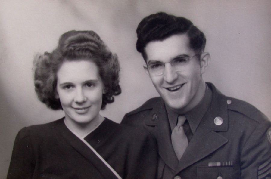 Elizabeth and Merle when they were married in Yates, England during the Second World War. Photo provided