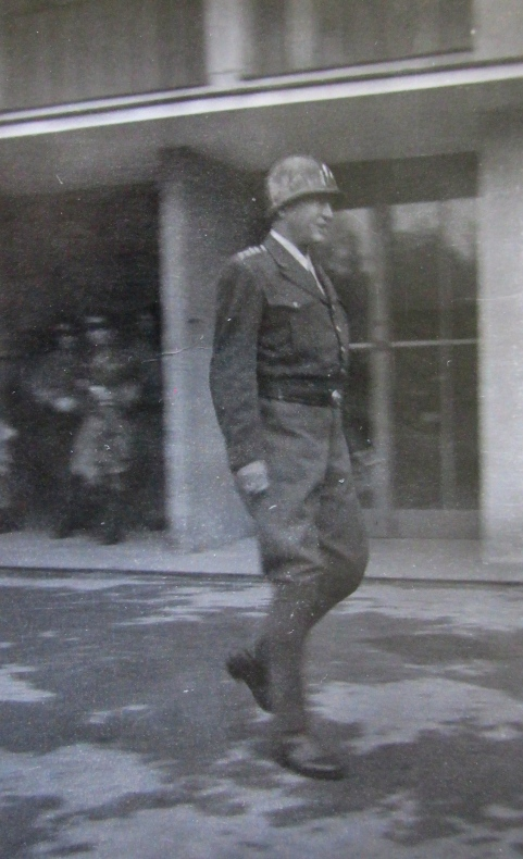 Gen. George Patton walks down a Nuremberg street about the time he sponsored Olympic games for his 3rd Army soldiers in the stadium Hitler built for the 1936 Olympic Games before the Second World War. Photo provided