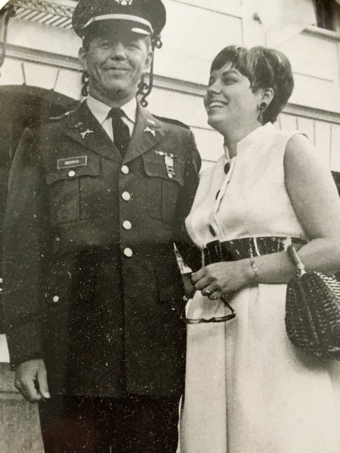 Captain and Mrs. Megyeri stand in front of the Hungarian Embassy in Washington, D.C. where the attended many special functions during their tour in the nations's captiol. Photo provided