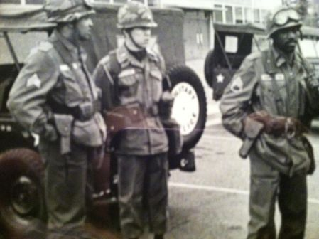 Captain Leslie Megyeri is flanked by two of his National Guard soldiers in Washington, D.C. during the 1968 riots following the assination of the Rev. Martin Luther King in Memphis, Tenn. His unit together with the 82nd Airborne helped quell the riots in the nation's capitol. Photo provided